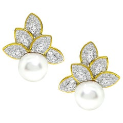 Diamond South Sea Pearl Gold Earrings