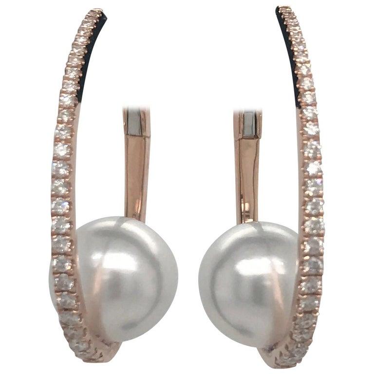 Diamond South Sea Pearl Hoop Earrings 0.55 Carat 18 Karat Rose Gold