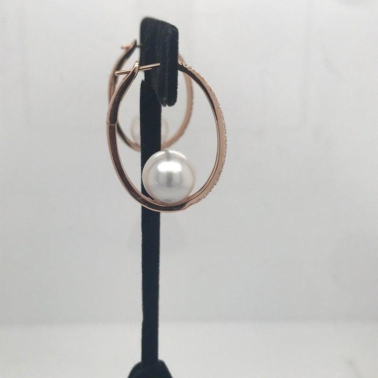Round Cut Diamond South Sea Pearl Hoop Earrings 0.55 Carat 18 Karat Rose Gold