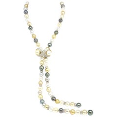 Diamond South Sea Pearl Necklace 14k Gold Certified