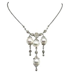 Diamond South Sea Pearl Necklace 18k Gold Certified