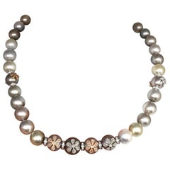 Diamond South Sea Pearl Necklace Certified