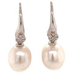 Diamond South Sea Pearl WG Earrings 14k Gold Certified