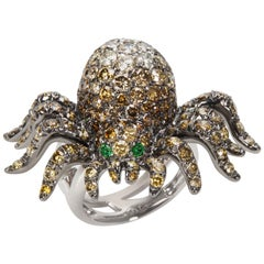 Diamond Spider Fashion Ring in 18 Karat White Gold 7.60 Carat
