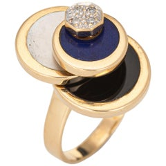 Diamond Spinning Ring Vintage 14 Karat Gold Onyx Lapis MOP Spinner Jewelry