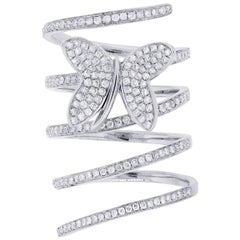 Diamond Spiral Butterfly Ring