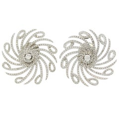 Diamond Spiral Gold Flower Earrings