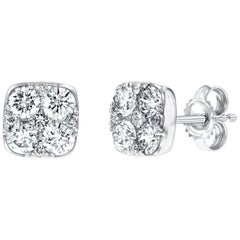 Diamond Square Cluster 18 Kt White Gold 1.00 Carat Pave Set Round Stud Earrings