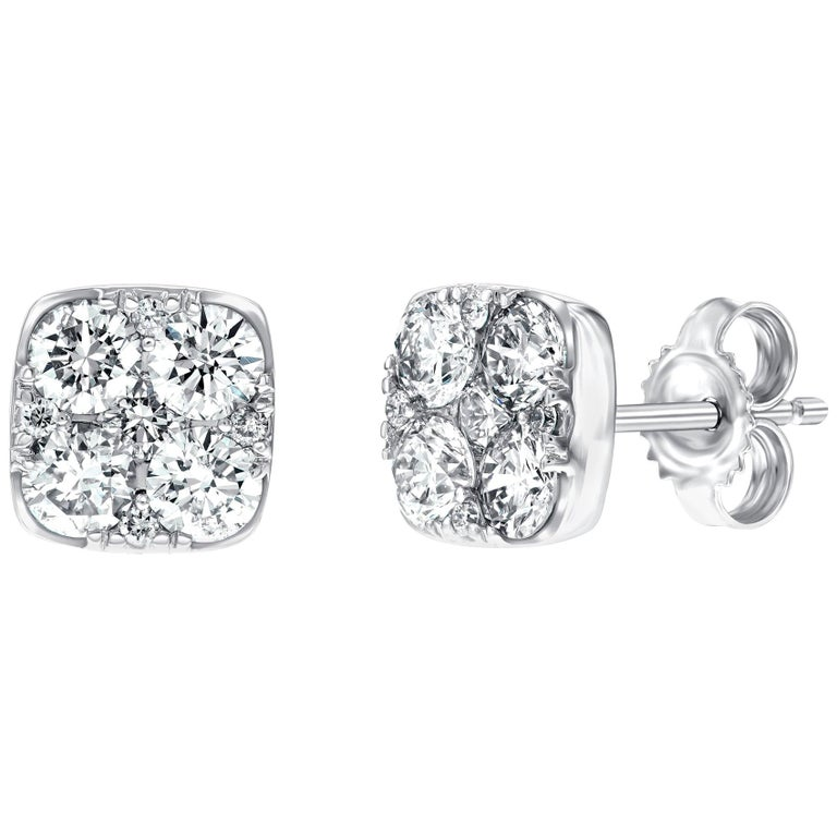 Diamond Square Cluster 18 Kt White Gold 1.00 Carat Pave Set Round Stud Earrings For Sale