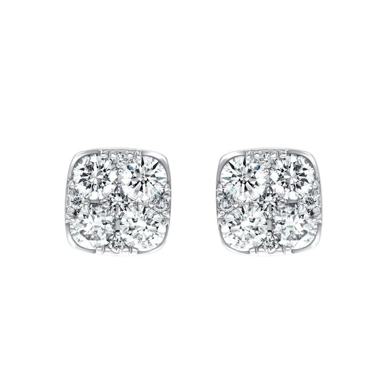 Contemporary Diamond Square Cluster 18 Kt White Gold 1.00 Carat Pave Set Round Stud Earrings For Sale
