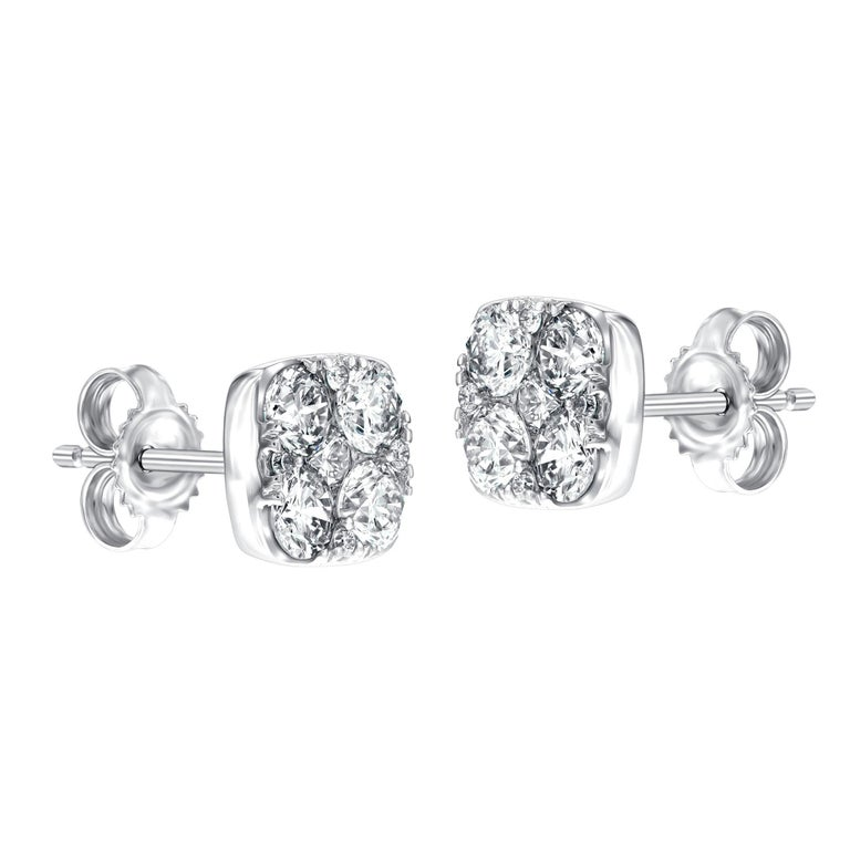 Round Cut Diamond Square Cluster 18 Kt White Gold 1.00 Carat Pave Set Round Stud Earrings For Sale