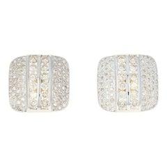 Diamond Square Earrings, 21k & 18k Gold Large Stud Pierced Round Cut 2.16ctw
