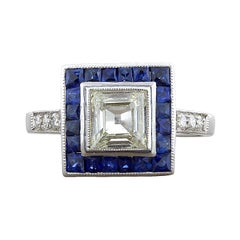 Diamond Square Shape Sapphire Halo Gold Engagement Ring