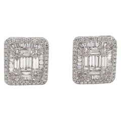Diamond Square Stud Earrings 3.25 Carat 18 Karat White Gold