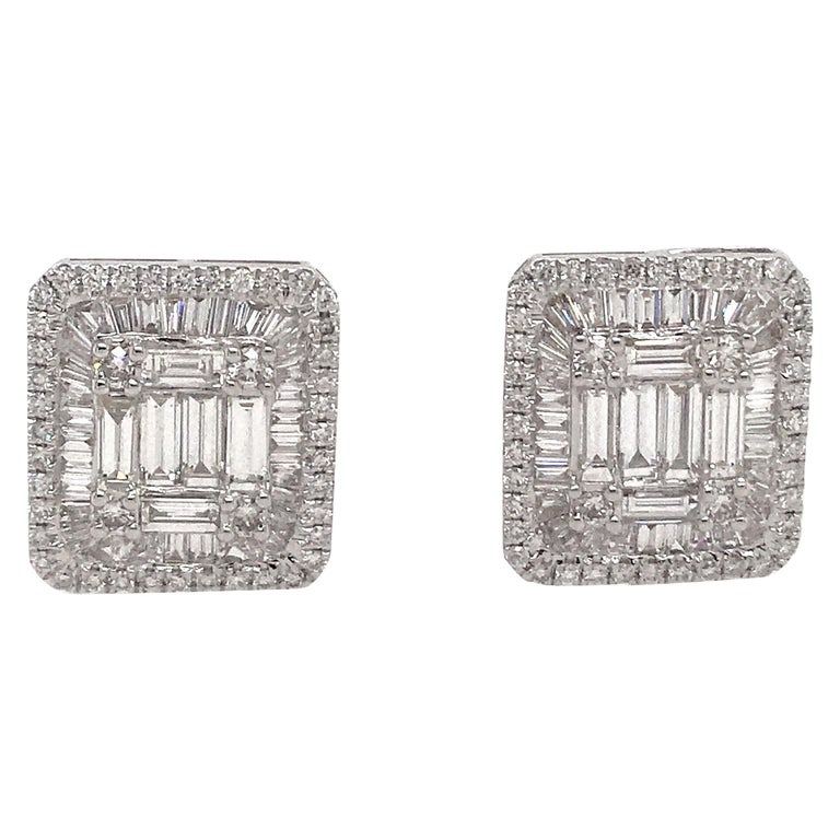 Diamond Square Stud Earrings 3.25 Carat 18 Karat White Gold For Sale