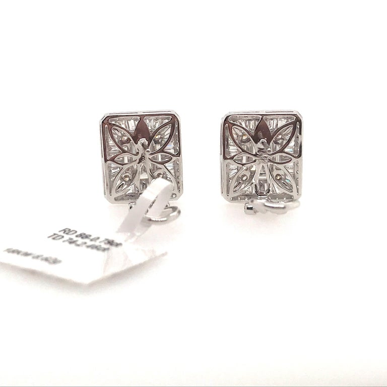 Diamond Square Stud Earrings 3.25 Carat 18 Karat White Gold For Sale 4