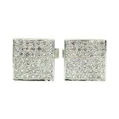 Diamond Square White Gold Cufflinks