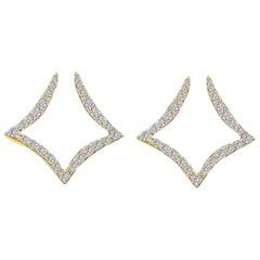 Diamond Squares Earring in 18 Karat Gold