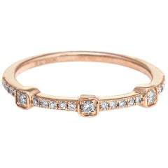 Diamond Stacking Ring 14 Karat Rose Gold Estate Fine Jewelry Wedding Band