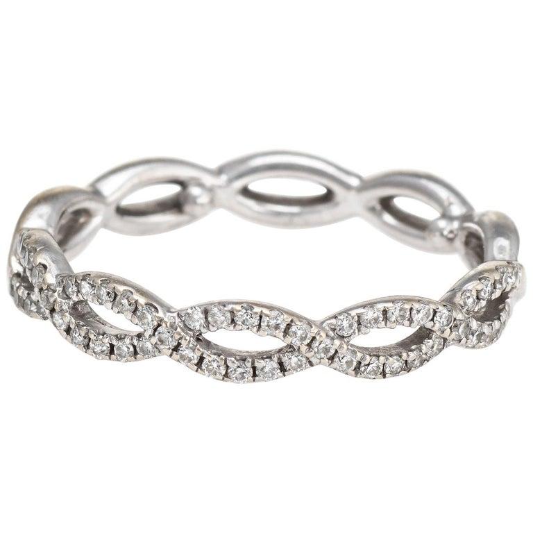 Diamond Stacking Ring Braided 14 Karat White Gold Fine Jewelry Wedding Band For Sale