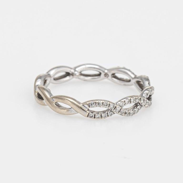 Modern Diamond Stacking Ring Braided 14 Karat White Gold Fine Jewelry Wedding Band For Sale