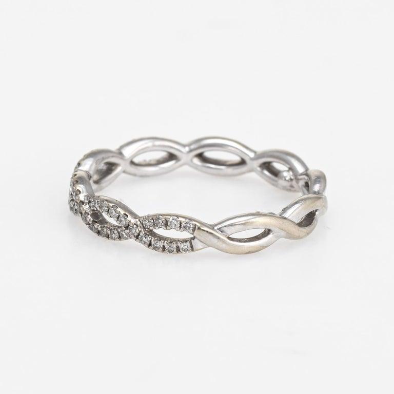 Round Cut Diamond Stacking Ring Braided 14 Karat White Gold Fine Jewelry Wedding Band For Sale