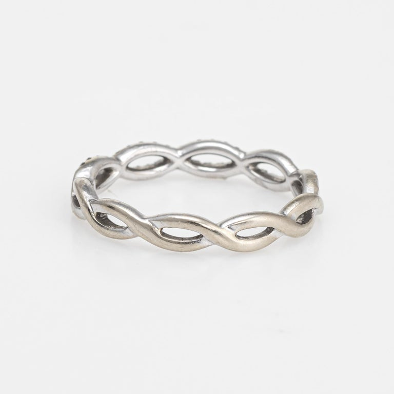 Diamond Stacking Ring Braided 14 Karat White Gold Fine Jewelry Wedding Band In Excellent Condition For Sale In West Hills, CA