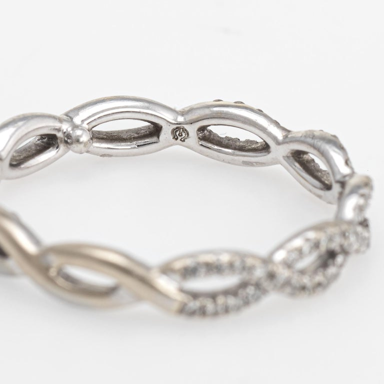 Diamond Stacking Ring Braided 14 Karat White Gold Fine Jewelry Wedding Band For Sale 1
