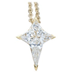 Diamond Star 18k Yellow Gold Pendant Necklace Invisible Setting Unique AD1922