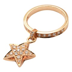 Diamond Star Charm Ring Rose Gold Made in Italy