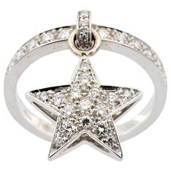 Diamond Star Charm Ring White Gold Made in Italy
