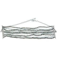 Diamond Star Choker Necklace of 18 Karat Gold Labradorite and Moonstone Beads
