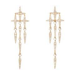 Diamond Star Drop Earrings Estate 14 Karat Yellow Gold Jewelry Micro Pave