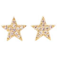 Diamond Star Earrings, 14 Karat Yellow Gold Diamond Stud Earrings, Space, Stars
