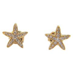 Diamond Star Earrings in 18 Karat Gold