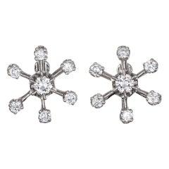 Diamond Star Earrings Vintage 14 Karat Gold Screw Backings Estate Fine Jewelry