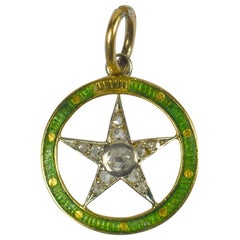 Diamond Star Enamel Gold Circle Pendant Charm