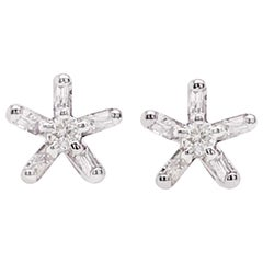 Diamond Star Flower Earring Studs, White Gold Diamond Star Earrings Flower Stud