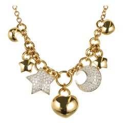 Diamond Star Moon Charm Cable Yellow Gold Necklace