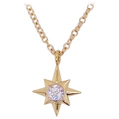 Diamond Star Necklace, 14 Karat Yellow Gold, North Star Pendant Necklace