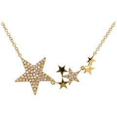 Diamond Star Necklace, 14 Karat Yellow Gold Pave Diamond Flexible Star Bar Space