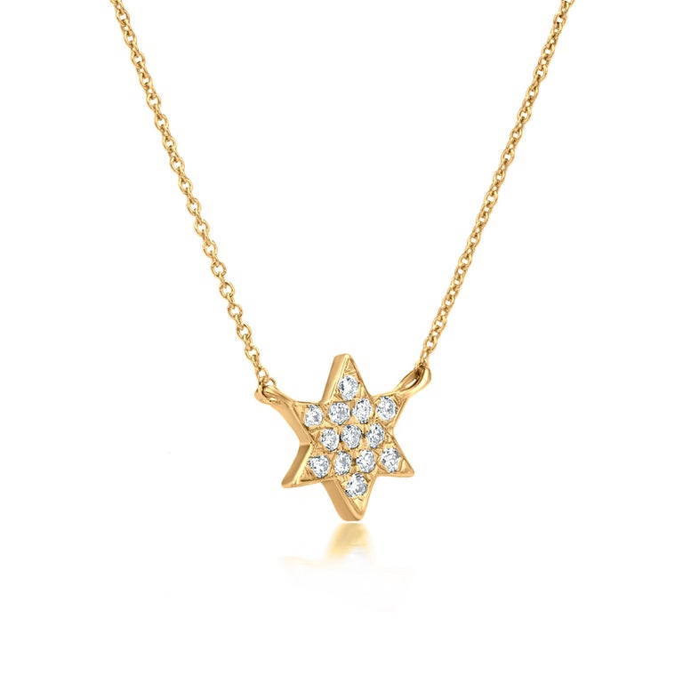 Contemporary Diamond Star Pendant Necklace 18k Yellow Gold For Sale