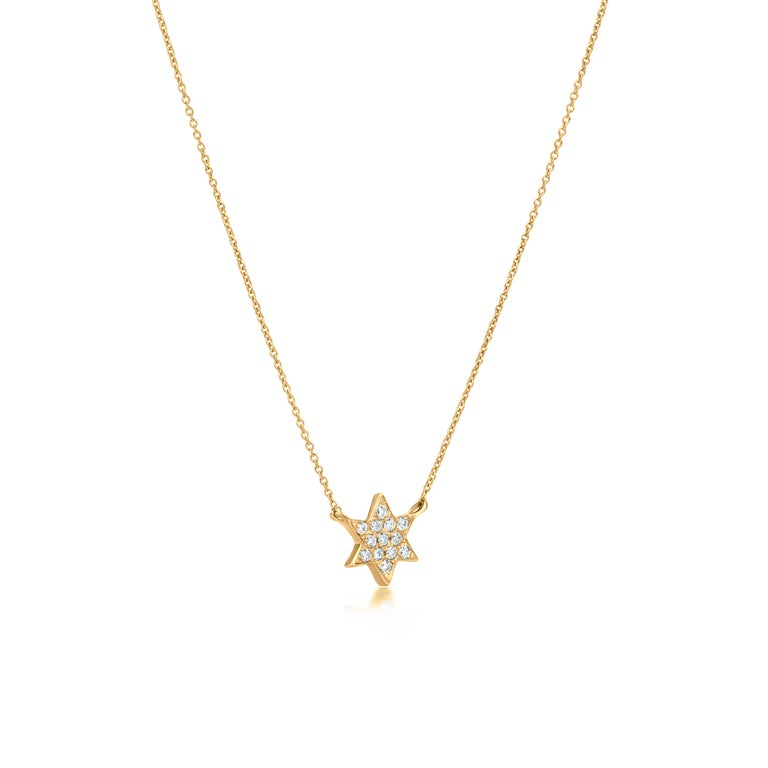 Round Cut Diamond Star Pendant Necklace 18k Yellow Gold For Sale
