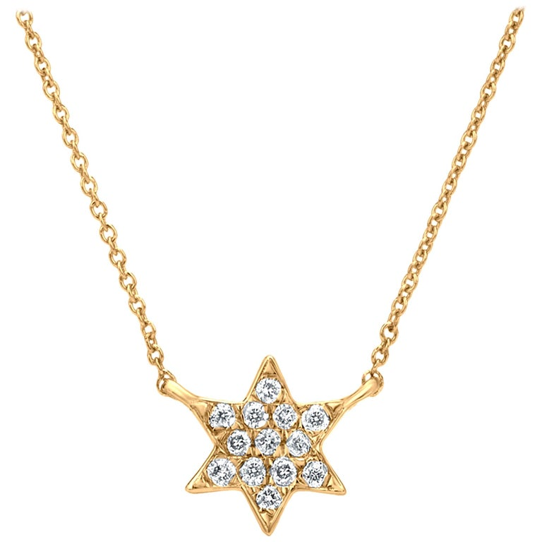 Diamond Star Pendant Necklace 18k Yellow Gold For Sale