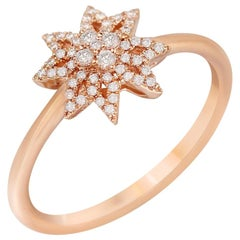 Diamond Star Pink Gold Ring