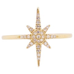 Diamond Star Ring, 14 Karat Yellow Gold Compass Star, North Star, Constellation