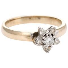 Diamond Star Stacking Ring Vintage 14 Karat Yellow Gold Estate Fine Jewelry