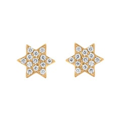 Diamond Star Stud Earrings in 18k Yellow Gold