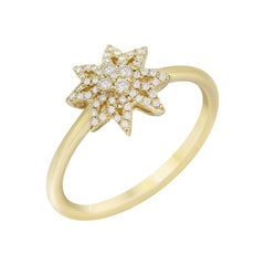 Diamond Star Yellow Gold Ring