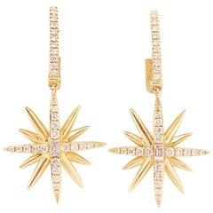 Diamond Starburst Earrings, 14K Yellow Gold Designer Diamond Earring Dangles